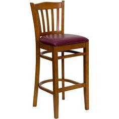 Flash Furniture HERCULES Series Cherry Finished Vertical Slat Back Wooden Restaurant Barstool - Burgundy Vinyl Seat [XU-DGW0008BARVRT-CHY-BURV-GG]