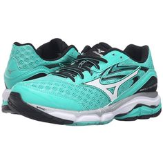 Mizuno Wave Inspire 12 (Electric Green/White/Black) Women's Running... ($120) ❤ liked on Polyvore featuring shoes, athletic shoes, mesh running shoes, infinity shoes, green shoes, breathable mesh shoes and lace up shoes