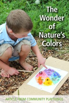 Introduce children to the wonder of nature's colors with this simple nature art activity. Outdoor Learning Spaces, Picnic Blanket, Outdoor Blanket, Natural Wonders, Learning Activities, Preschool, Teaching, Education, Children