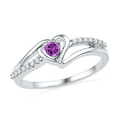 10kt White Gold Womens Lab-Created Amethyst Heart Love Fashion Ring 1/5 Cttw