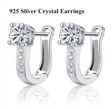 Cm077 2016 mejor regalo 925 diamante simulado pendientes de aro aretes de plata para mujeres 2014 nueva mujer joyería de la boda(China (Mainland))