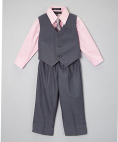 Gray & Pink Four-Piece Vest Set - Infant, Toddler & Boys by Caldore #zulily #zulilyfinds $ 19.99
