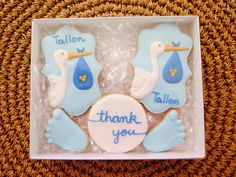 Baby stork delivery cookie thank you gift box