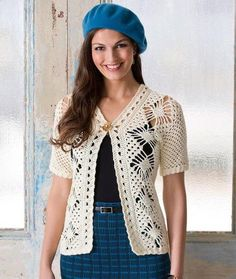 White Spider Lace Jacket | The perfect layering top.  Free Crochet pattern here:
