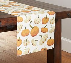 Charmant Scattered Pumpkin Runner #potterybarn #tablelinens Fall Vignettes,  Tablecloths, Table Linens, Fall