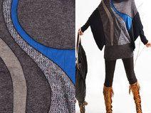 Knit Poncho Strickjacke Inlay Kunst (P5106)