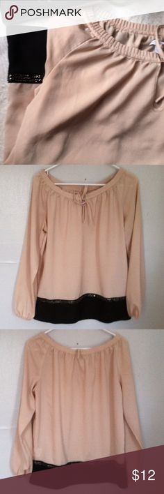 ✨SALE NWOT New York & Company Blouse Top Small • new without tag • embellished with beads around the bottom near the black fabric • cinch tie around neckline and elastic cuffs around the wrists • color: cream and black • size: small • brand: new york & company • no trades • free gift with any purchase • 15% off all bundles • New York & Company Tops Blouses