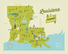 Framed Louisiana Map Wall Dcor Louisiana map and Free shipping