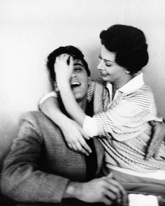 Sophia Loren hugging Elvis in the Paramount cafeteria, February 23, 1958