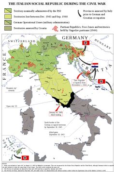 Italian Social Republic (RSI) during the Civil War European Map, European History, Italy History, World History, Historical Maps, Historical Pictures, World Conflicts, Italy Map, Alternate History