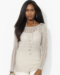 Lauren Ralph Lauren Petites Metallic Pointelle Knit Tunic  Bloomingdale's
