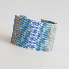 Peyote Cuff Bracelet with Geometric Pattern in Bright Colors