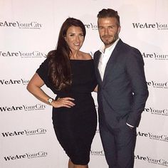 Joanne Beckham wearing Gorgeous Couture alongside her gorgeous brother David Beckham!