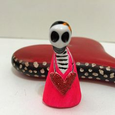 Dia De Los Muertos- Day of the Dead- Girl Skeleton Valentine with Love Heart
