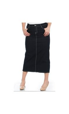 Womens Dark Navy Tea Length Denim Skirts with Embellished Pockets