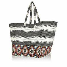 Black aztec print oversized square tote bag $70.00
