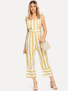 SHEIN offers Frill Trim Striped Jumpsuit & more to fit your fashionable needs. Halter Jumpsuit, Printed Jumpsuit, Striped Jumpsuit, Navy Jumpsuit, Bridal Jumpsuit, Playsuit, Yellow Pattern, Flutter Sleeve, Jumpsuits For Women