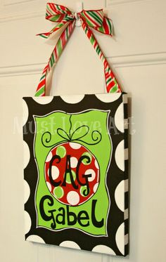 Christmas Ornament Painting on Canvas Hand by MustLoveArtStudio, $29.99