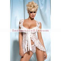 sheer+bras | Sexy Lingerie White Lace Sheer Flyaway Mini Dress Babydoll