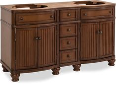 double Walnut vanity base with Antique Brushed Satin Brass hardware, bead board doors, and curved front. Granite Tops, Black Granite, Cabinet Boxes, Diy Vanity, Mdf Wood, Marble Top, Extra Storage, White Porcelain, Drawers