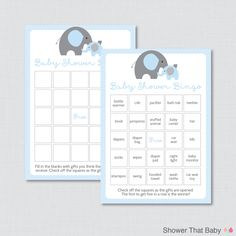 40 unique Elephant Baby Shower Bingo Cards - Prefilled Bingo Cards AND Blank Cards - Digital Instant Download - Blue Elephant Baby Shower - 0024-B by ShowerThatBaby on Etsy https://www.etsy.com/listing/203631196/elephant-baby-shower-bingo-cards