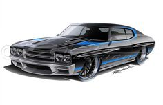 Awesome attention to detail from Ragle Design 70 chevelle pro touring rendering custom bumper ground effects body kit front line drawing rear sketch spoiler
