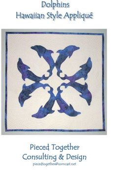 Dolphins Hawaiian Style Applique Quilt Pattern. Might make a cool tattoo!