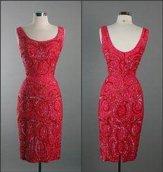 Mid Century Elegant  MISS JAMES Movie Star Hourglass Silk Beaded Cocktail Party Vintage 1950s 50s dress. $290.00, via Etsy.