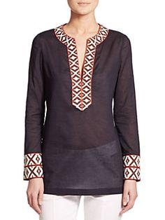Tory Burch Cotton Tunic In Navy-multi Tunic Designs, Kurti Neck Designs, Dress Neck Designs, Moda Afro, Tory Burch, Indian Tunic, Cotton Tunics, Blouse Outfit, Indian Fashion