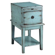 @Overstock.com - In a weathered and distressed sea blue finish, this simple cabinet has a bold personality full of rustic charm. One single deep drawer has a decorative pull and there is a pullout tray to extend the area on top.http://www.overstock.com/Home-Garden/Creek-Classics-Distressed-Blue-Chair-Side-Chest/7377797/product.html?CID=214117 $234.99