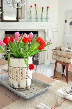 Valentine's Day Ideas- Buckets of Burlap blog, red & pink tulips