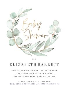 Natural eucalyptus inspired baby shower invitation