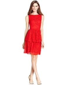 London Times Sleeveless Tiered Lace Dress - Clearance - Women - Macy's