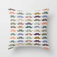 Mustache+Mania+Throw+Pillow+by+Bianca+Green+-+$20.00 for @Shannon
