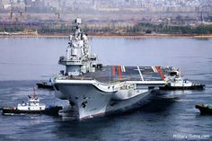 Liaoning Kuznetsov class Crew 2 000 men Aircrew 500 men Length 305 m Beam 67 m Draught 11 m Hangar deck length 183 m Displacement, standard 46 600 tons Displacement, full load 59 400 tons Speed 29 knots Boilers 8 Steam turbines 4 x 37.3 MW Aircraft Fixed wing J-15 Helicopters Z-8 and Ka-31 Armament Artillery 3 x 30-mm CIWS Missiles 3 or 4 x HQ-10 (18 cell) short-range air defense missile systems Other 2 x ASW rocket launchers with 12 rockets