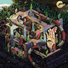 Bizarre illustrations mashing pop culture madness into geometric mazes