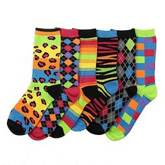Women's Fun and Colorful Crew Sock 6 Packs - Neon at Amazon Women's Clothing store: Novelty Socks