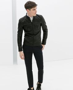 ZARA - MAN - FAUX LEATHER JACKET WITH KNITTED SIDE PANELS