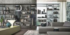 brown aluminium Wind bookcase, rifl ettente grigio glass back panels. Self bench unit in laguna mat lacquered glass.