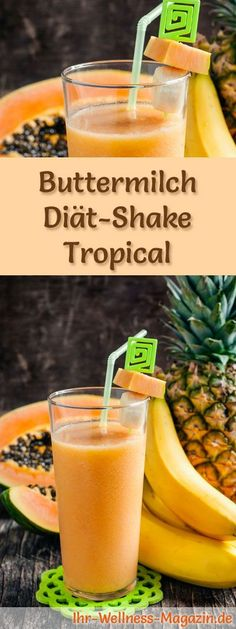 Buttermilch-Shake Tropical – Diät-Shake-Rezept mit Buttermilch – Vuslat Oztopcu - Let's Pin This Low Carb Shakes, Fruit Smoothies, Smoothie Recipes, Buttermilk Recipes, Shake Recipes, Crunches, Eating Plans, Raw Food Recipes, Food Videos