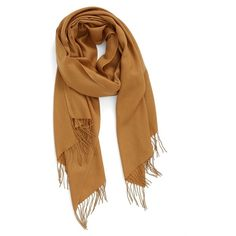 Women's Nordstrom Tissue Weight Wool & Cashmere Scarf ($98) ❤ liked on Polyvore featuring accessories, scarves, brown saddle, brown shawl, fringe shawl, long shawl, fringe scarves and brown scarves