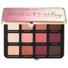 Too Faced Just Peachy Velvet Matte Lidschatten . - Too Faced Just Peachy Velvet Matte Eye Shadow Palette – Peaches and Cream Collection, Color: Just - Eye Makeup Tips, Smokey Eye Makeup, Makeup Kit, Makeup Tools, Makeup Eyeshadow, Peach Eyeshadow, Sephora Makeup, Acne Makeup, Makeup Brushes