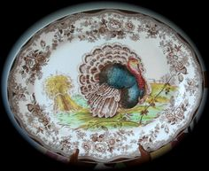 Huge Thanksgiving Turkey & Roses Brown Transferware Platter Tonquin Clarice Cliff Hand Painted