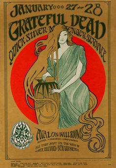 The Grateful Dead performed at the Avalon Ballroom in San Francisco on January 27 & 28 in Stanley Mouse created the art of this poster, like he would on several other occasions. Did you go to any Grateful Dead concerts in the Rock Posters, Band Posters, Music Posters, Event Posters, Grateful Dead Wallpaper, Grateful Dead Poster, Vintage Concert Posters, Vintage Posters, Norman Rockwell