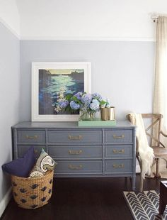 Grey Bamboo Dresser with Gold Pulls, Transitional, Bedroom