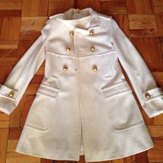 "Cream xsmall wool coat""SALE"" Gold buttons with a short belt with gold buttons to give it an extra cuteness... Wore only a handful of times Jackets & Coats"