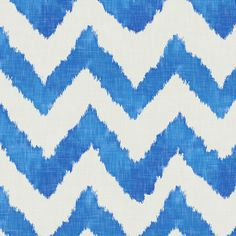 Linen Chevron Blue And White Ikat Fabric Printed by Spoonflower BTY #Spoonflower