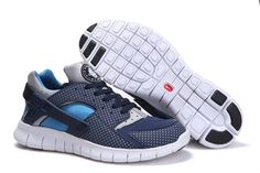 NIKE HUARACHE FREE 2012 MEN RUNNING SHOES MIDNIGHT NAVY/BLUE GREY-TIDE POOL BLUE   $66.38