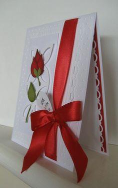Rose using SU bird punch, trellis, white, red, love, valentine