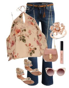 """""""just peachy"""" by im-karla-with-a-k ❤ liked on Polyvore featuring Exclusive for Intermix, Ice, Chloé, WithChic and Bobbi Brown Cosmetics"""